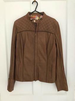Ted Baker Women's Brown Zip  Leather Jacket Size 2