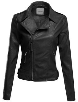 FashionOutfit Women's Classic Casual Cross-Over Moto Faux Le