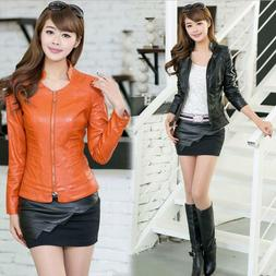 Women's Coats Short Slim Fit Collar Motorcycle Jackets Faux