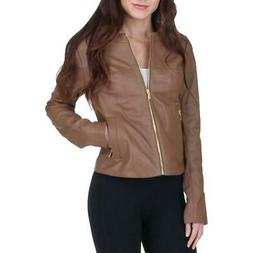 Via Spiga Women's Collarless Genuine Leather Jacket