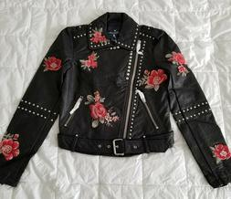 American Eagle Women's Embroidered Floral Studded Faux Leath