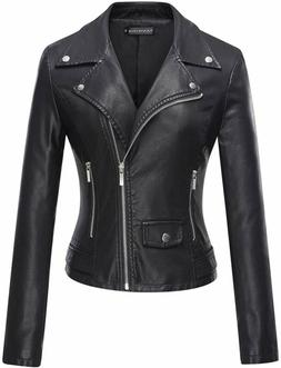 Tanming Women's Faux Leather Moto Biker Short Coat Jacket, X