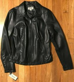 Kenneth Cole Reaction Women's Faux Leather Moto Jacket Black