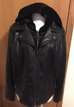 Tommy Hilfiger Women's Faux Leather Moto Jacket With detacha
