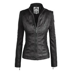 Made by Johnny Women's Faux Leather Moto Jacket Size Small D