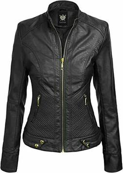 Lock And Love Women's Faux Leather Quilted Biker Jacket, Bla