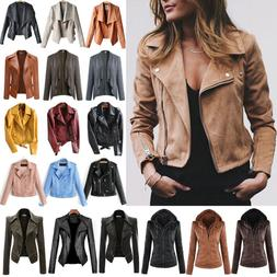 Women's Faux Leather Zip Up Bomber Jacket Biker Coat Casual