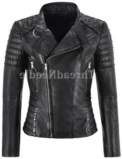 Women's Genuine Lambskin Leather Jacket Motorcycle Real Slim