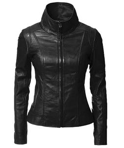 Women's Genuine Lambskin Leather Moto Jacket Black LL896