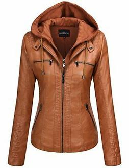 Tanming Women's Hooded Faux Leather Jackets Small LightBrown