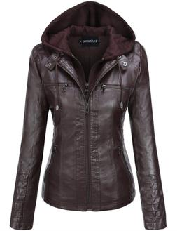 Tanming Women's Hooded Faux Leather Jackets XX-Large, Dark C