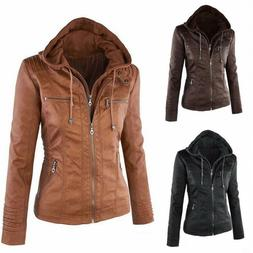 Women's Hooded Slim Leather Jacket Warm Motorcycle Outwear R