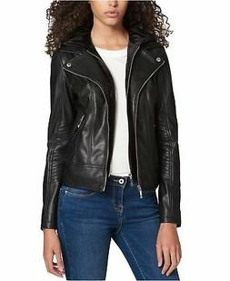 Tommy Hilfiger Women's Layered-Look Faux-Leather Jacket Blac