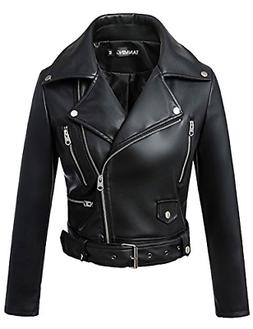Tanming Women's Leather Coat Jacket X-Small, Black2