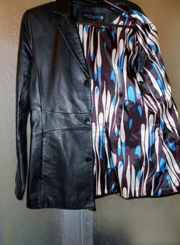 Women's Leather Jacket Kenneth Cole Reaction Size Medium Bla