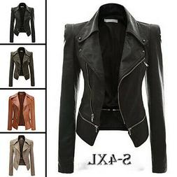 Women's Motorcycle PU Leather Jacket Zipper Coat Sexy Winter