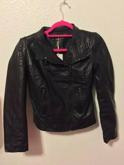 TANMING Women's NEW Black Fake Leather Moto Jacket Size XSMA