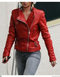 Women's Red Moto Lambskin Real Leather Jacket Motorcycle Sli