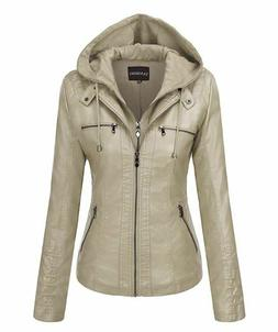 Tanming Women's Removable Hooded Faux Leather Jacket SIZE SM