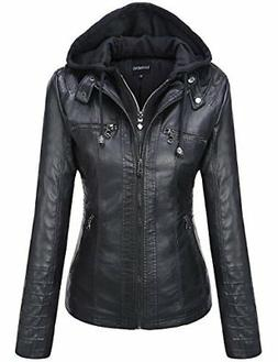 Tanming Women's Removable Hooded Faux Leather Jackets X-Larg