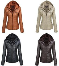 Tanming Women's Slim Hooded Faux Leather Casual Winter Jacke