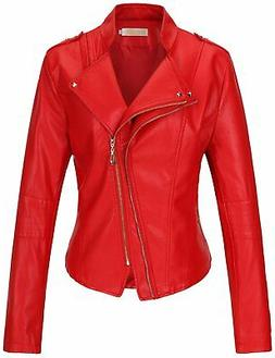 Tanming Women's Slim Zipper Color Faux Leather Jacket Red XX