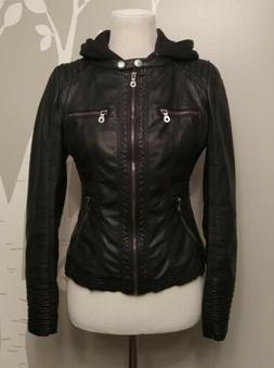 Women's Small Made By Johnny Los Angeles Faux Leather Zip Up