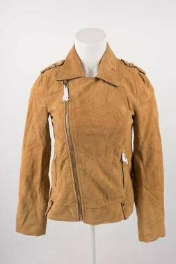 Massimo Dutti Women's Suede Biker Jacket Coat XS X-Small Gol