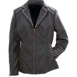 Giovanni Navarre Women's Tailored Black Faux Leather Studded