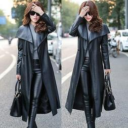 Women's Vogue Street Style Long Faux Leather Trench Coats Be