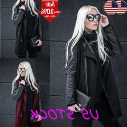 Women's Winter Loose Faux Leather Cardigan Knit Coat Outwear