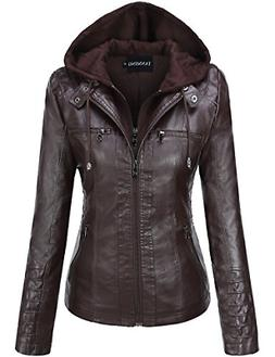 Tanming Women's Womens Hooded Faux Leather Jackets Large, Da