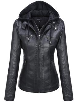 Tanming Women's Womens Hooded Faux Leather Jackets Small, Bl