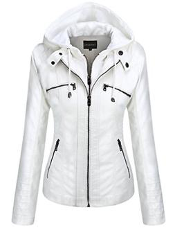 Tanming Women's Womens Hooded Faux Leather Jackets Medium, W