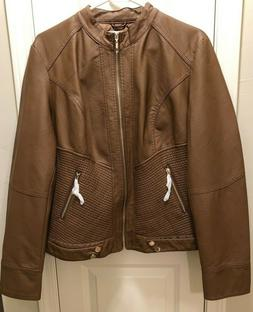 Made by Johnny Women's XL Camel Faux Leather Lined Moto Jack