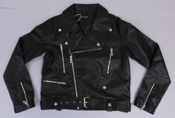 Tanming Women's Zipper Faux Leather Motorcycle Jacket LP7 Bl