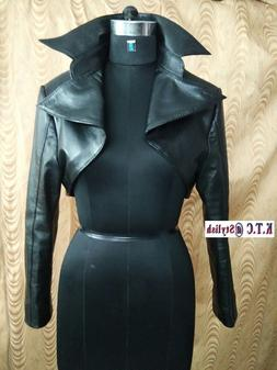 womens 100 percent genuine lambskin leather cropped
