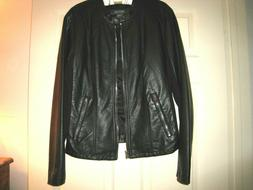 Kenneth Cole Reaction Women's Black Faux Leather Jacket Si