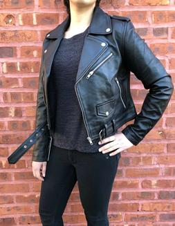 Womens Genuine Leather Classic Crop Biker Jacket Lamb Moto B