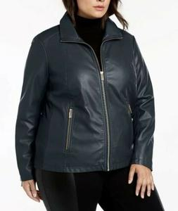 Kenneth Cole Reaction Womens Faux Leather Jacket Sz 2X Navy