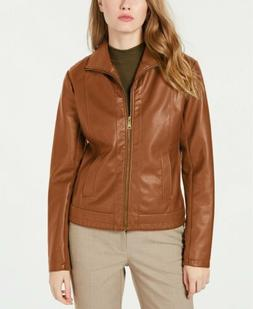 Kenneth Cole Womens Faux-Leather Jacket XL Brown