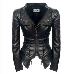 Womens Faux Leather Slim Fit Zipper Coats Short Motorcycle P