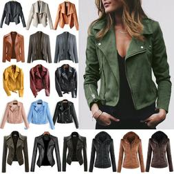 Womens Faux Leather Zipper Jacket Biker Motorcycle Coat Casu