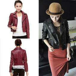 Womens Ladies Faux Leather Jackets Coats Zip Up Short Lapel