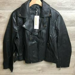 Tanming Womens Size 2XL Black Faux Leather Moto Jacket Crop
