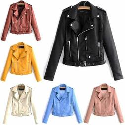 Womens Slim Tailoring Faux Leather PU Short Jacket Coat Moto