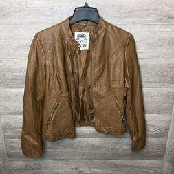 womens small brown motorcycle jacket faux leather