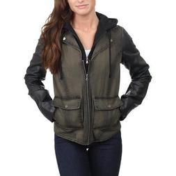 Kenneth Cole Reaction Womens Web Buster Fauz Leather Jacket