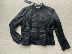 Made By Johnny Womens XL Faux Leather Zip Up Moto Biker Jack
