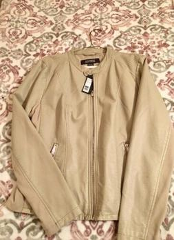 KENNETH  COLE Reaction Women's XXL Ivory Faux Leather Jack